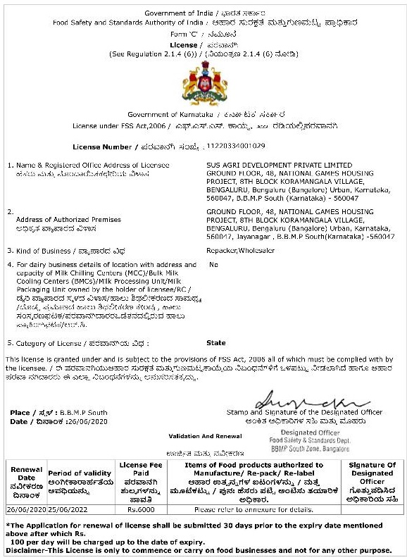 FSSAI Licence- SusAgri 2020